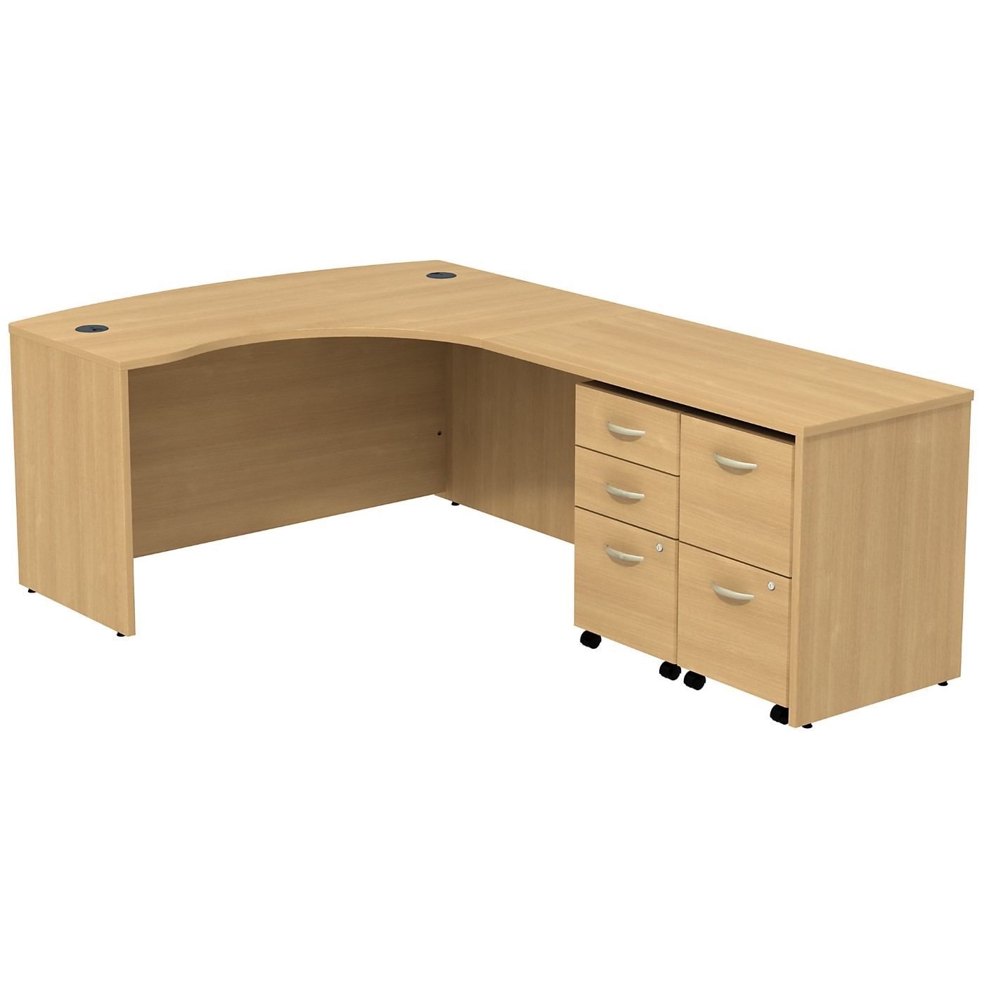 BUSH BUSINESS FURNITURE SERIES C BOW FRONT RIGHT HANDED L SHAPED DESK WITH 2 MOBILE PEDESTALS. FREE SHIPPING