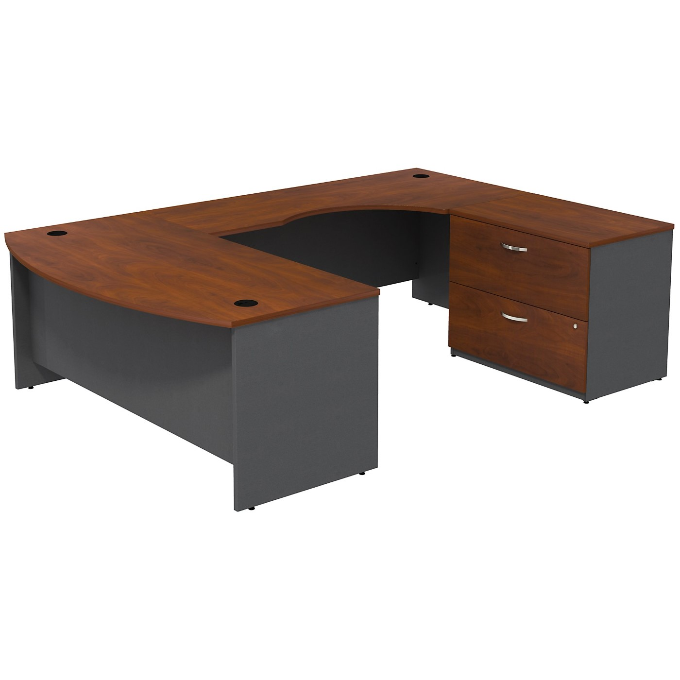 BUSH BUSINESS FURNITURE SERIES C BOW FRONT RIGHT HANDED U SHAPED DESK WITH 2 DRAWER LATERAL FILE CABINET. FREE SHIPPING