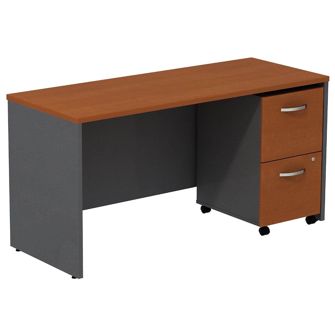 BUSH BUSINESS FURNITURE SERIES C DESK CREDENZA WITH 2 DRAWER MOBILE PEDESTAL. FREE SHIPPING