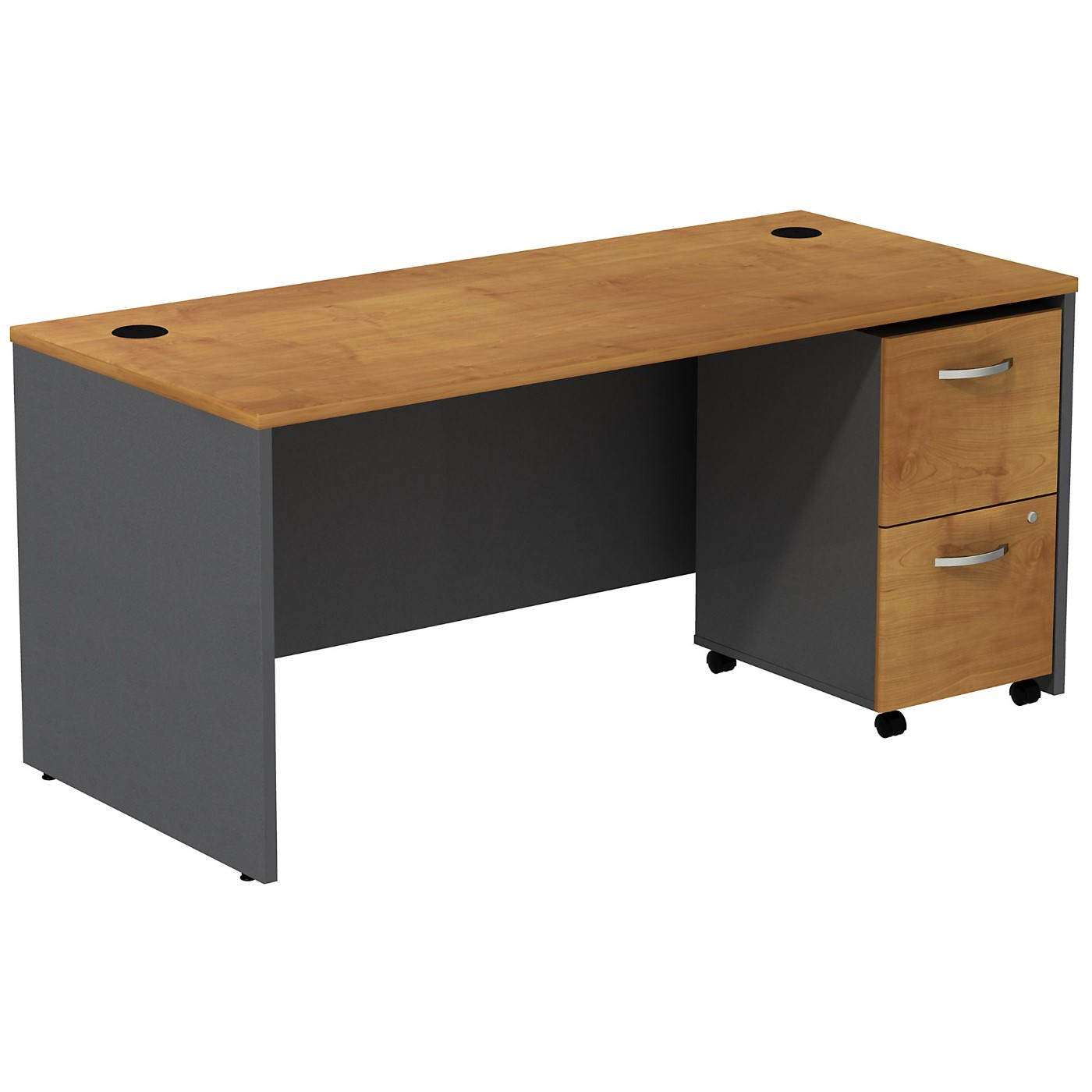 BUSH BUSINESS FURNITURE SERIES C DESK WITH 2 DRAWER MOBILE PEDESTAL. FREE SHIPPING