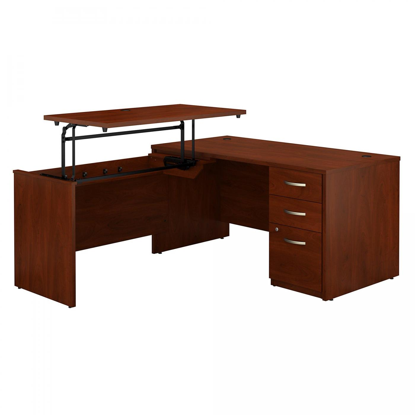 </b></font><b>BUSH BUSINESS FURNITURE SERIES C ELITE 60W X 30D 3 POSITION SIT TO STAND L SHAPED DESK WITH 3 DRAWER FILE CABINET. FREE SHIPPING. VIDEO:</b></font>  VIDEO BELOW. <p>RATING:&#11088;&#11088;&#11088;&#11088;&#11088;</b></font></b>