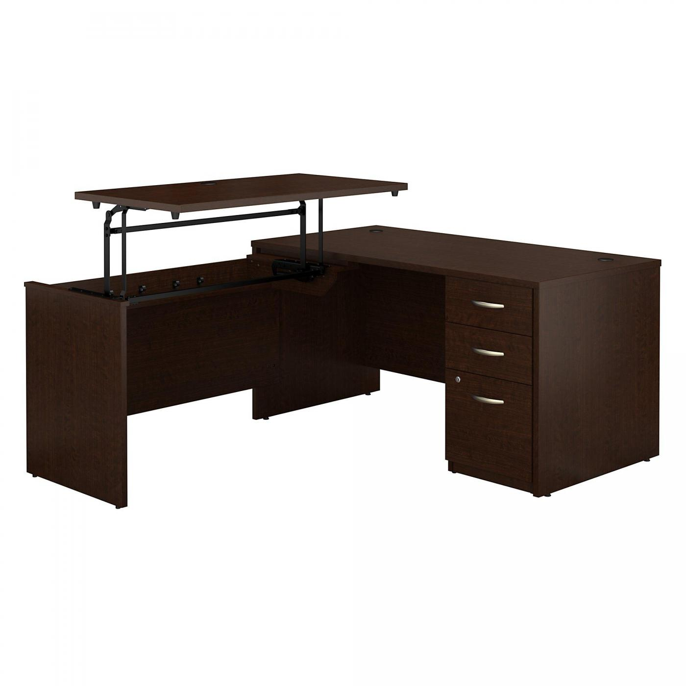 <font color=#c60><b>BUSH BUSINESS FURNITURE SERIES C ELITE 60W X 30D 3 POSITION SIT TO STAND L SHAPED DESK WITH 3 DRAWER FILE CABINET. FREE SHIPPING</font></b>