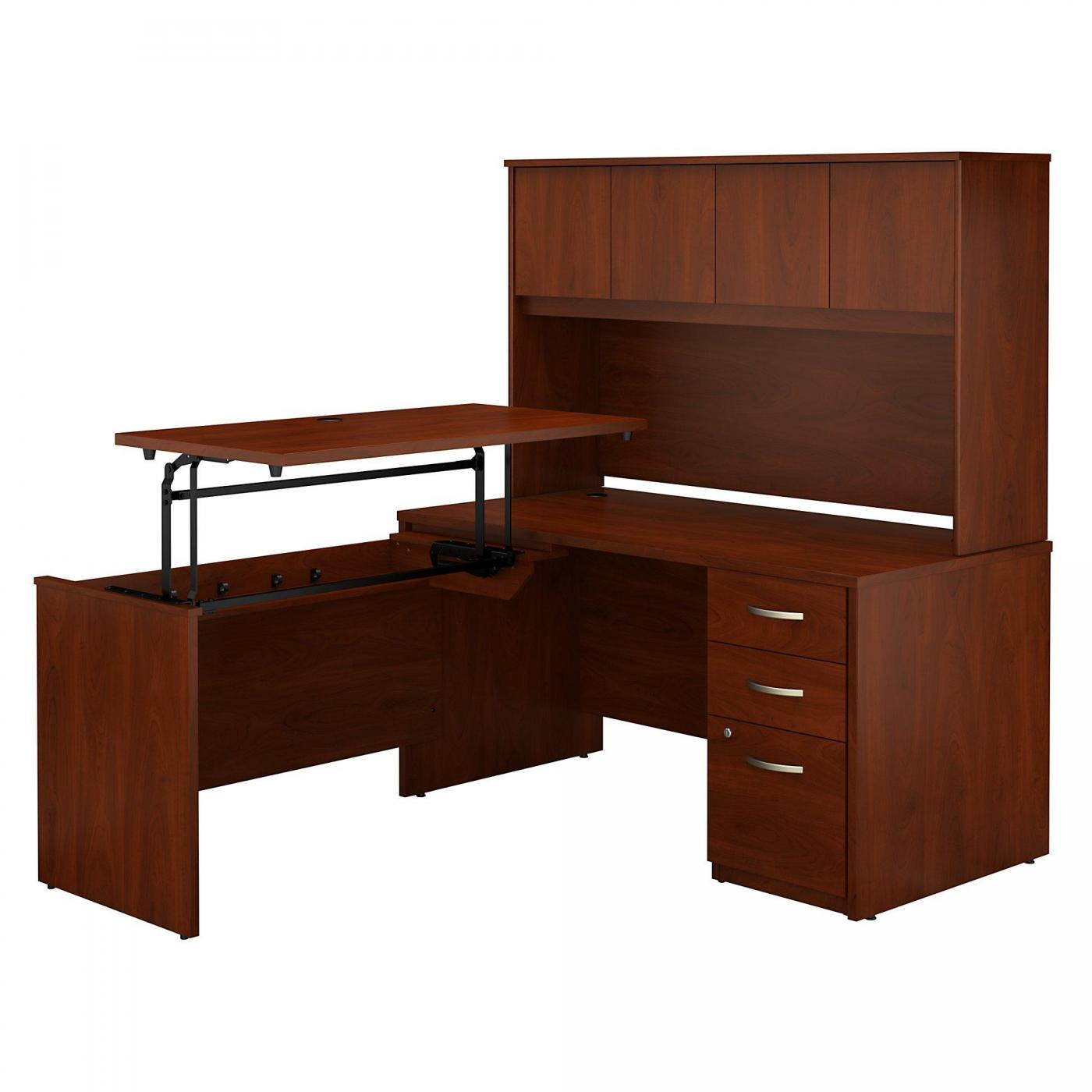 <font color=#c60><b>BUSH BUSINESS FURNITURE SERIES C ELITE 60W X 30D 3 POSITION SIT TO STAND L SHAPED DESK WITH HUTCH AND 3 DRAWER FILE CABINET. FREE SHIPPING. VIDEO:</font></b>