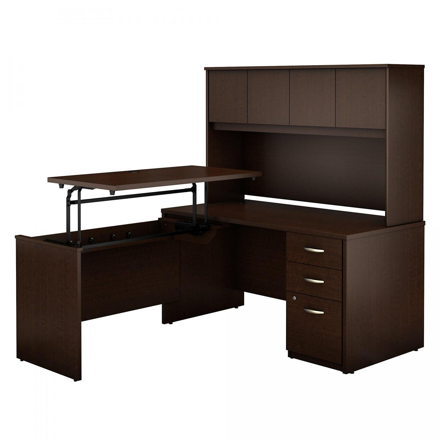 <font color=#c60><b>BUSH BUSINESS FURNITURE SERIES C ELITE 60W X 30D 3 POSITION SIT TO STAND L SHAPED DESK WITH HUTCH AND 3 DRAWER FILE CABINET. FREE SHIPPING</font></b>