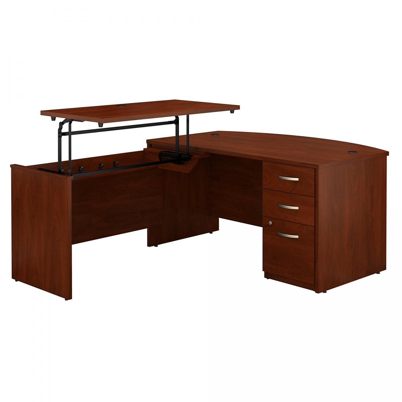 <font color=#c60><b>BUSH BUSINESS FURNITURE SERIES C ELITE 60W X 36D 3 POSITION SIT TO STAND BOW FRONT L SHAPED DESK WITH 3 DRAWER FILE CABINET. FREE SHIPPING</font></b>