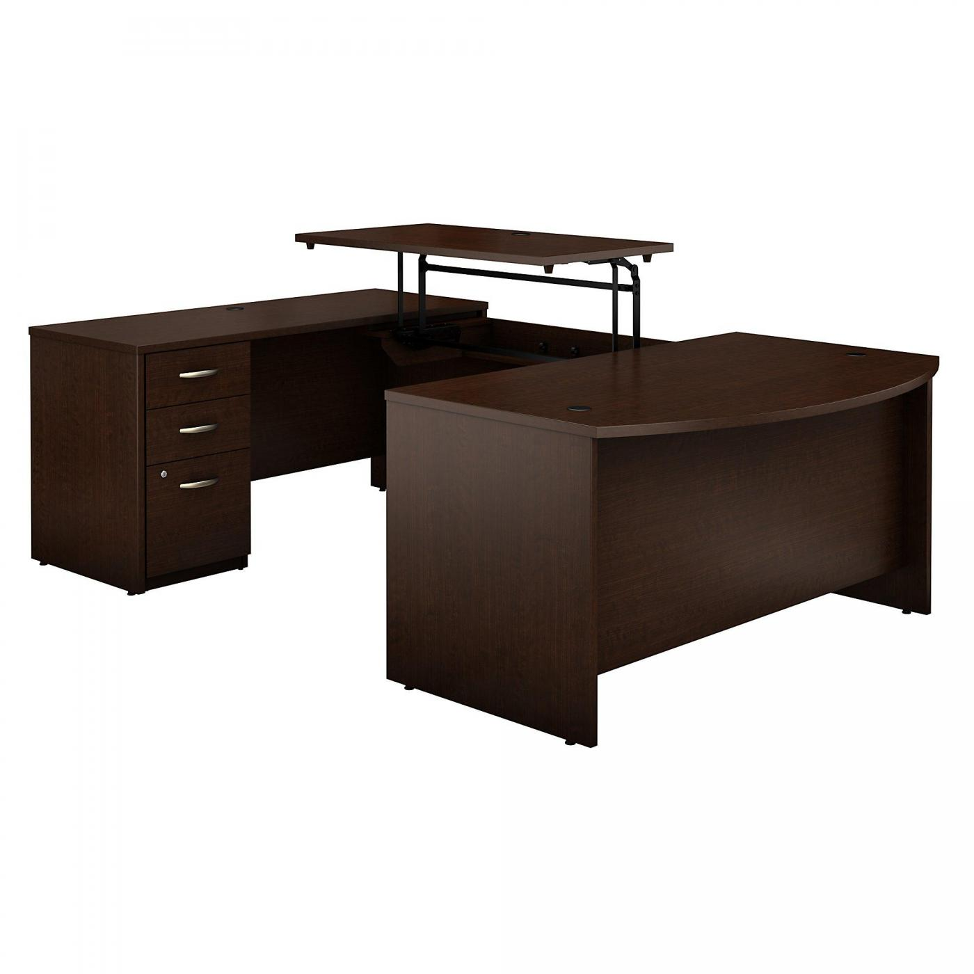 <font color=#c60><b>BUSH BUSINESS FURNITURE SERIES C ELITE 60W X 36D 3 POSITION SIT TO STAND BOW FRONT U SHAPED DESK WITH 3 DRAWER FILE CABINET. FREE SHIPPING</font></b>