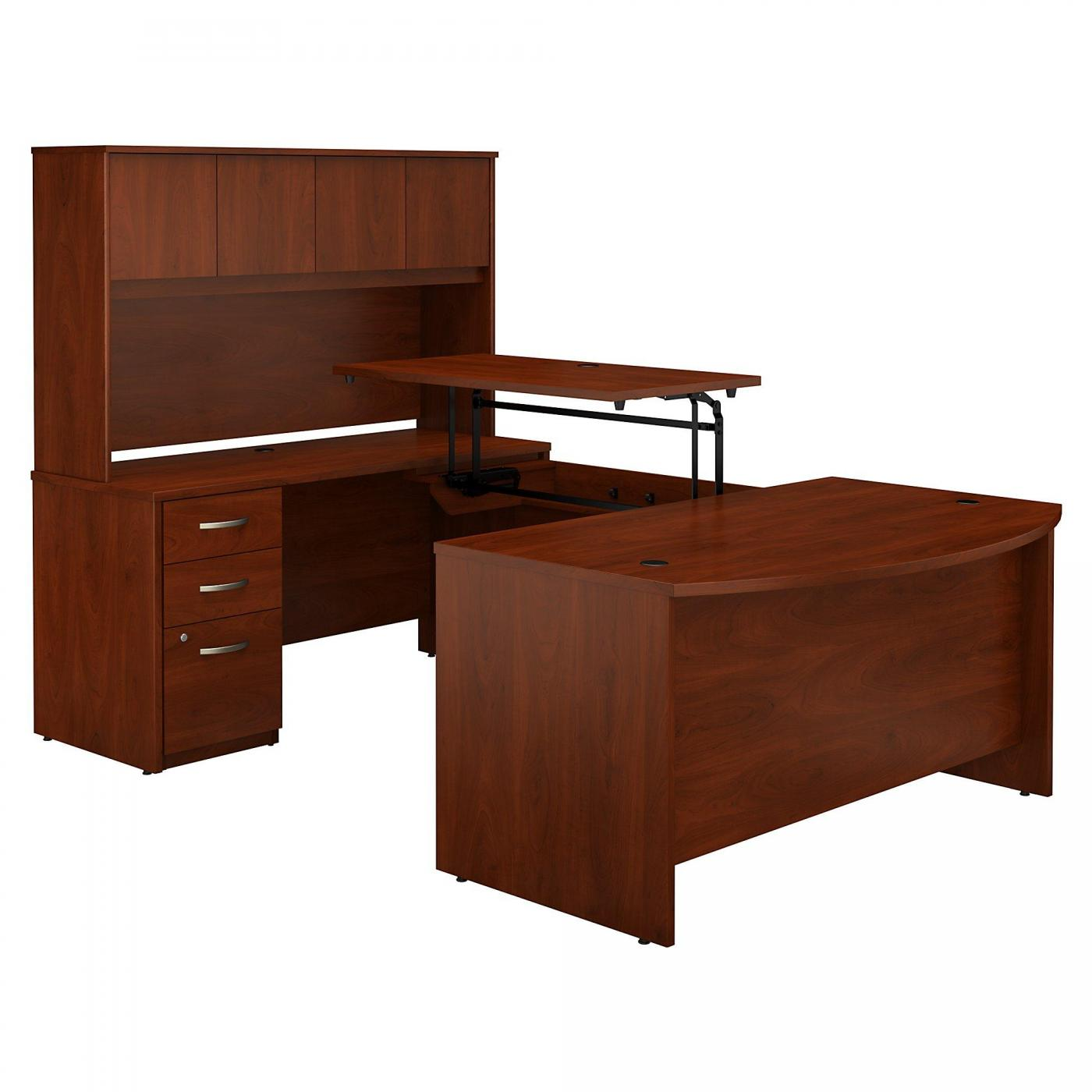 <font color=#c60><b>BUSH BUSINESS FURNITURE SERIES C ELITE 60W X 36D 3 POSITION SIT TO STAND BOW FRONT U SHAPED DESK WITH HUTCH AND 3 DRAWER FILE CABINET. FREE SHIPPING</font></b>