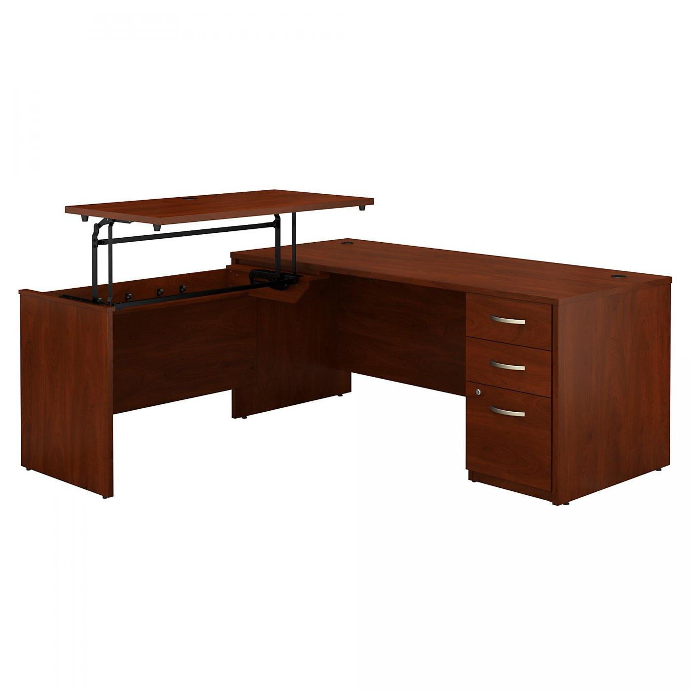 <font color=#c60><b>BUSH BUSINESS FURNITURE SERIES C ELITE 72W X 30D 3 POSITION SIT TO STAND L SHAPED DESK WITH 3 DRAWER FILE CABINET. FREE SHIPPING. VIDEO:</font></b>