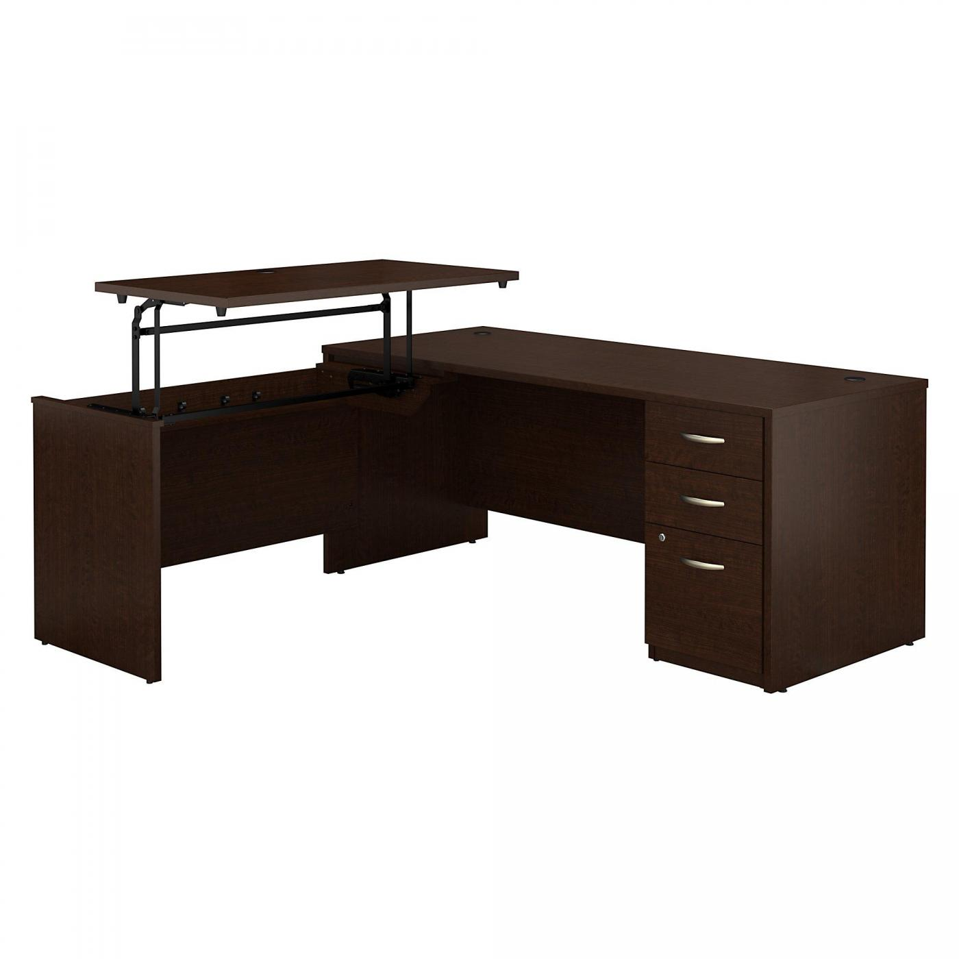 <font color=#c60><b>BUSH BUSINESS FURNITURE SERIES C ELITE 72W X 30D 3 POSITION SIT TO STAND L SHAPED DESK WITH 3 DRAWER FILE CABINET. FREE SHIPPING</font></b>