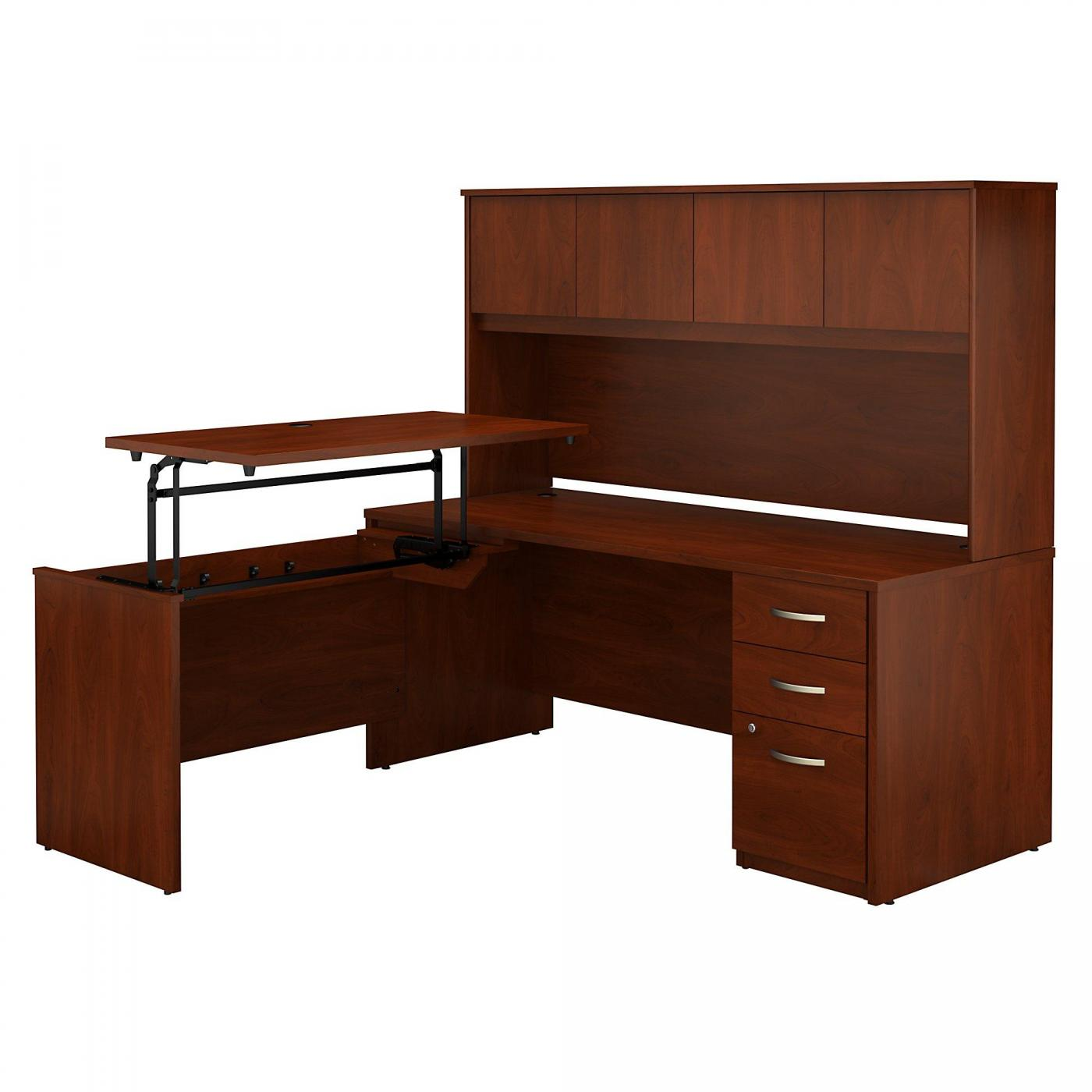 <font color=#c60><b>BUSH BUSINESS FURNITURE SERIES C ELITE 72W X 30D 3 POSITION SIT TO STAND L SHAPED DESK WITH HUTCH AND 3 DRAWER FILE CABINET. FREE SHIPPING. VIDEO:</font></b>