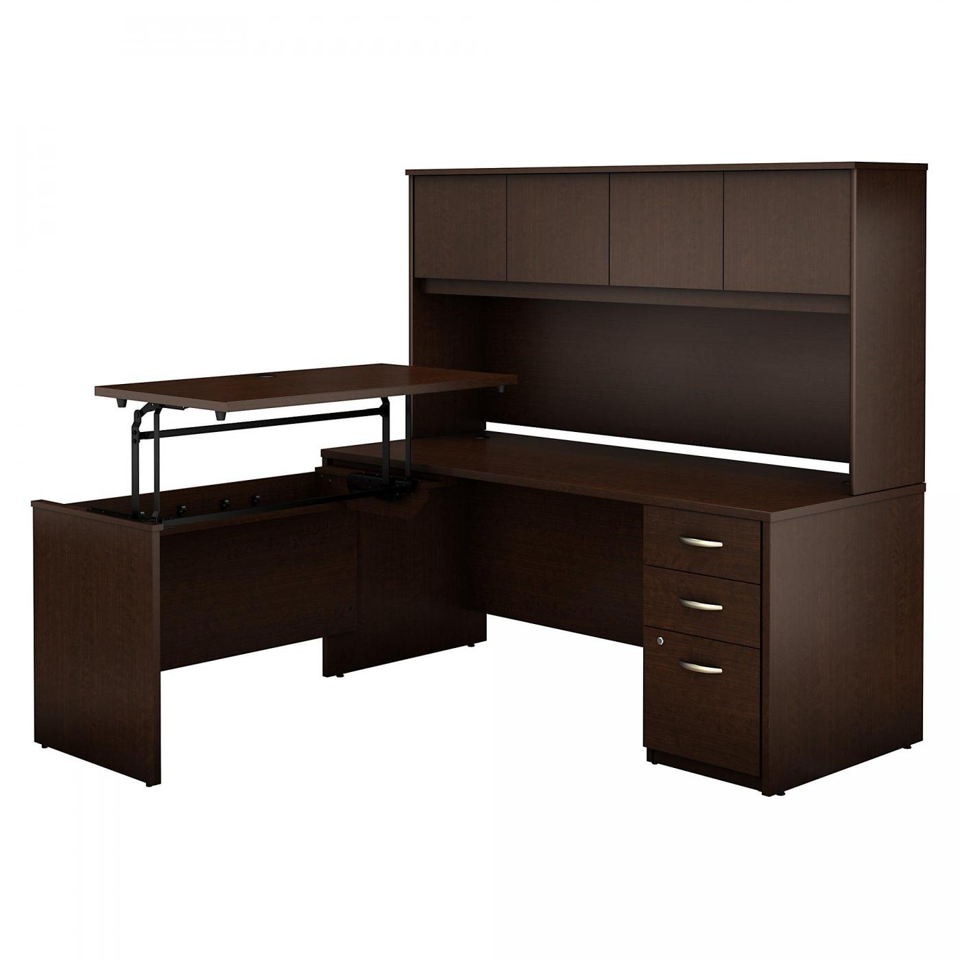 <font color=#c60><b>BUSH BUSINESS FURNITURE SERIES C ELITE 72W X 30D 3 POSITION SIT TO STAND L SHAPED DESK WITH HUTCH AND 3 DRAWER FILE CABINET. FREE SHIPPING. VIDEO:</font></b></font></b>