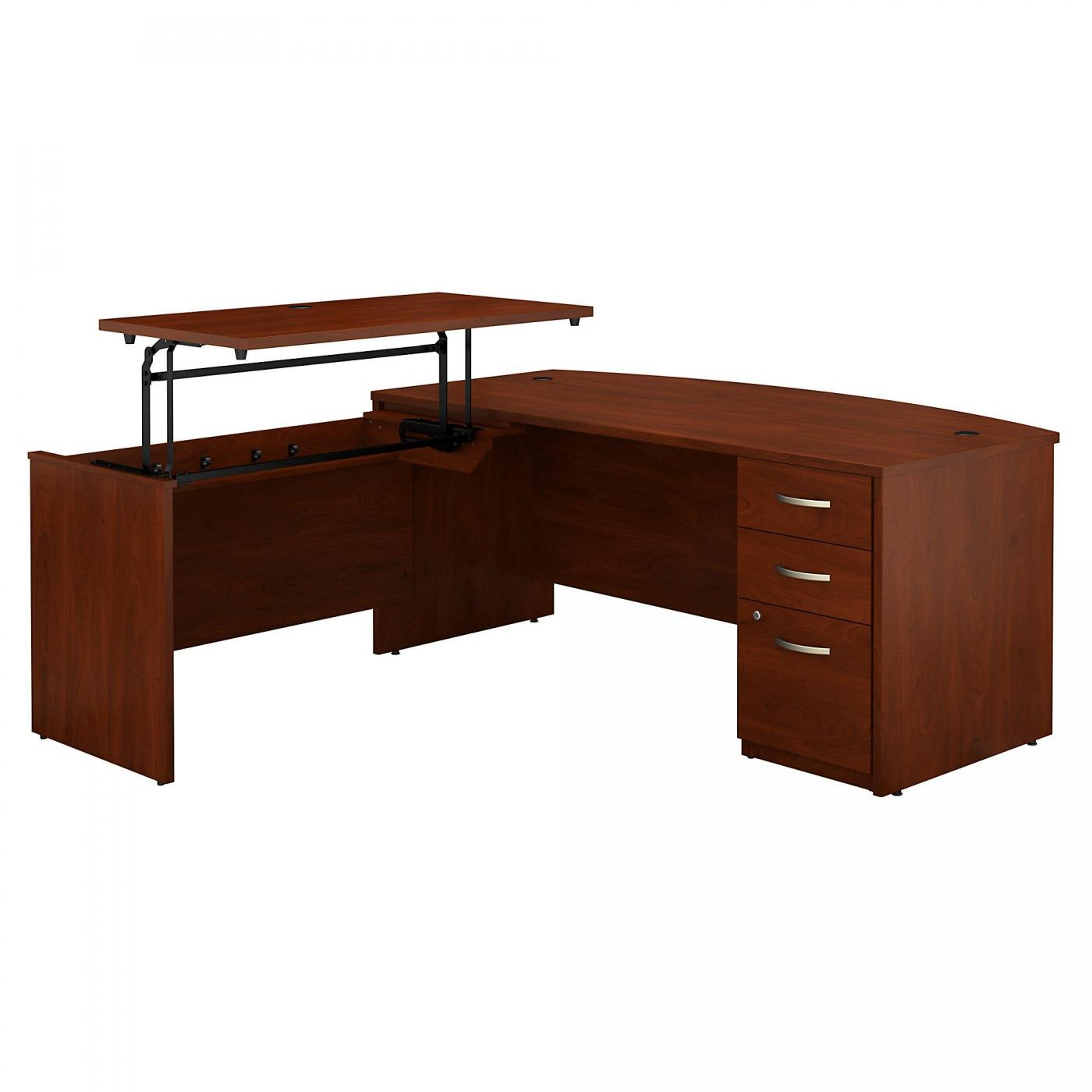 <font color=#c60><b>BUSH BUSINESS FURNITURE SERIES C ELITE 72W X 36D 3 POSITION SIT TO STAND BOW FRONT L SHAPED DESK WITH 3 DRAWER FILE CABINET. FREE SHIPPING</font></b>