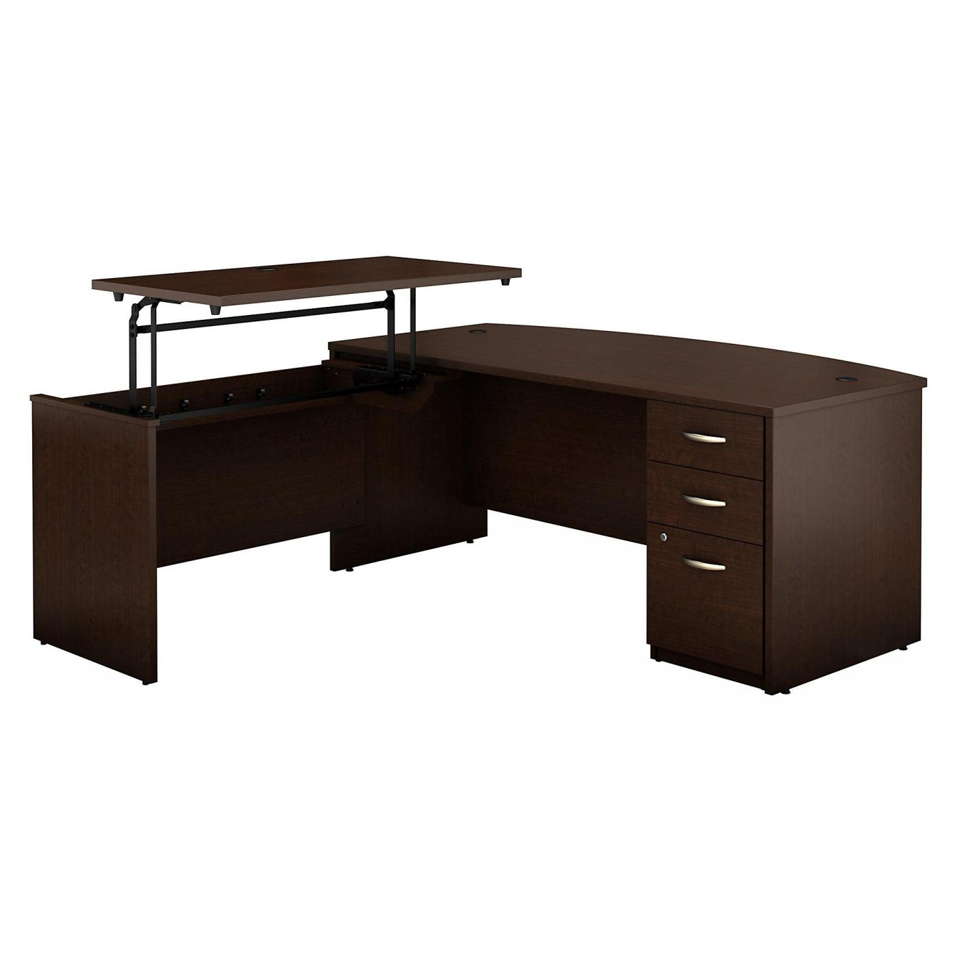 <font color=#c60><b>BUSH BUSINESS FURNITURE SERIES C ELITE 72W X 36D 3 POSITION SIT TO STAND BOW FRONT L SHAPED DESK WITH 3 DRAWER FILE CABINET. FREE SHIPPING. VIDEO:</font></b>