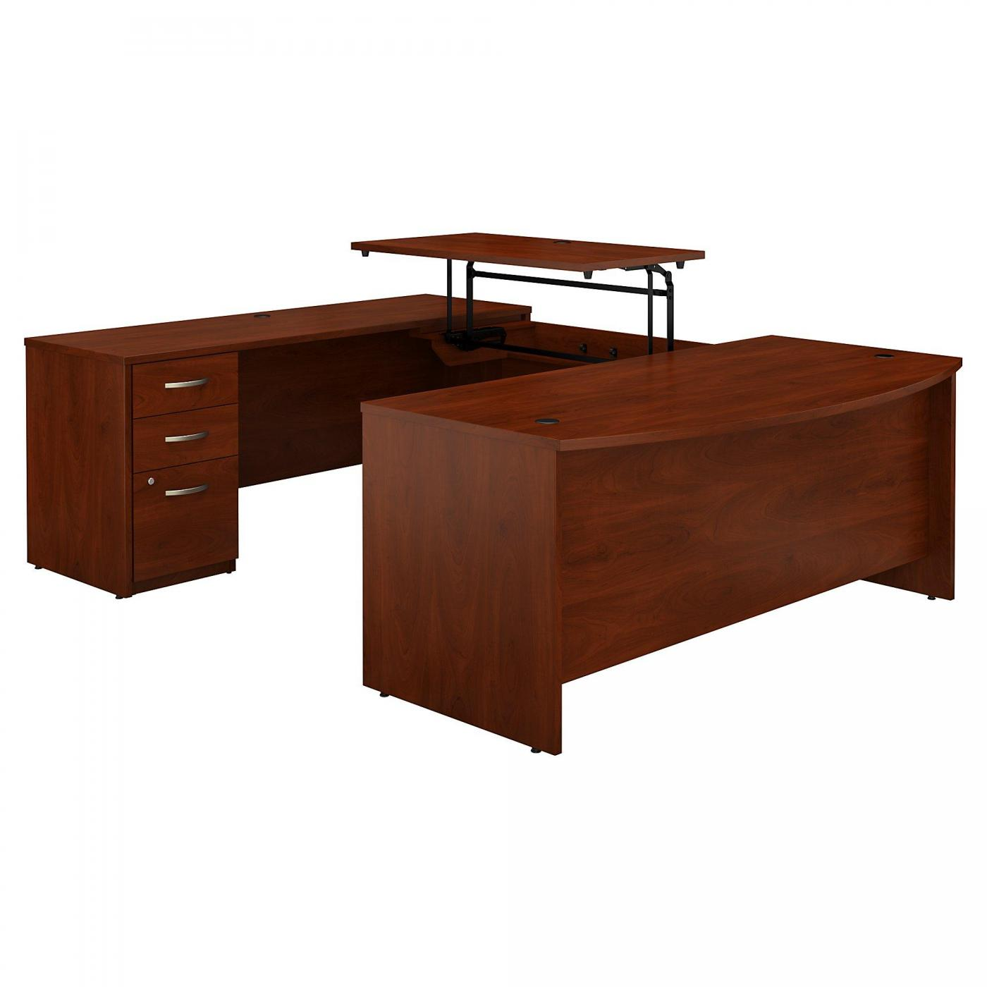 <font color=#c60><b>BUSH BUSINESS FURNITURE SERIES C ELITE 72W X 36D 3 POSITION SIT TO STAND BOW FRONT U SHAPED DESK WITH 3 DRAWER FILE CABINET. FREE SHIPPING. VIDEO:</font></b>