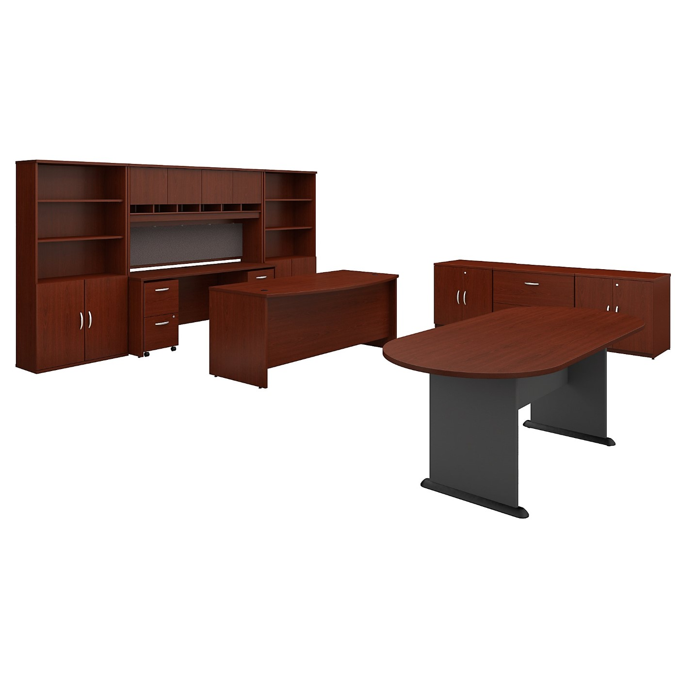 BUSH BUSINESS FURNITURE SERIES C EXECUTIVE OFFICE SUITE WITH STORAGE AND CONFERENCE TABLE. FREE SHIPPING SALE DEDUCT 10% MORE ENTER '10percent' IN COUPON CODE BOX WHILE CHECKING OUT.