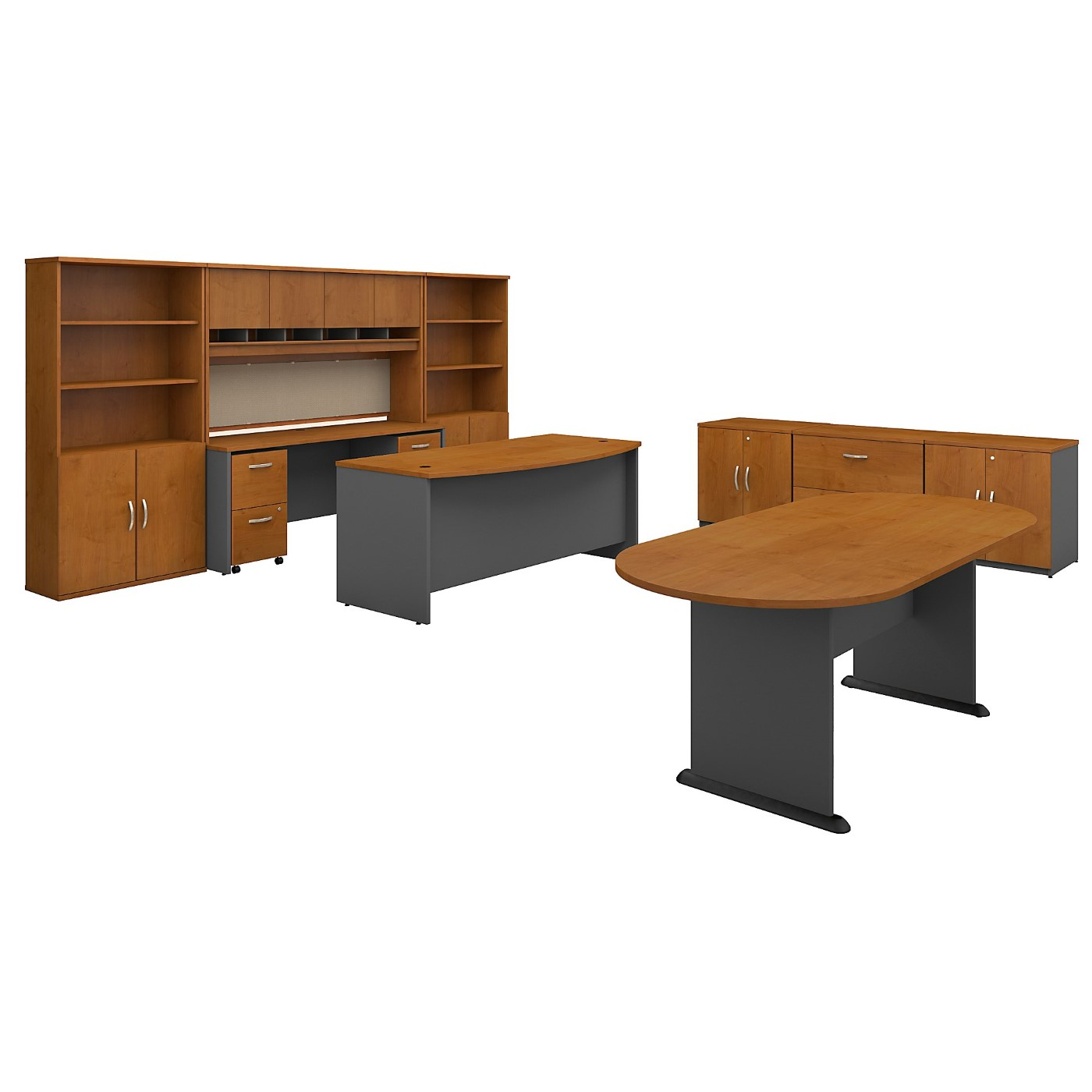 BUSH BUSINESS FURNITURE SERIES C EXECUTIVE OFFICE SUITE WITH STORAGE AND CONFERENCE TABLE. FREE SHIPPING