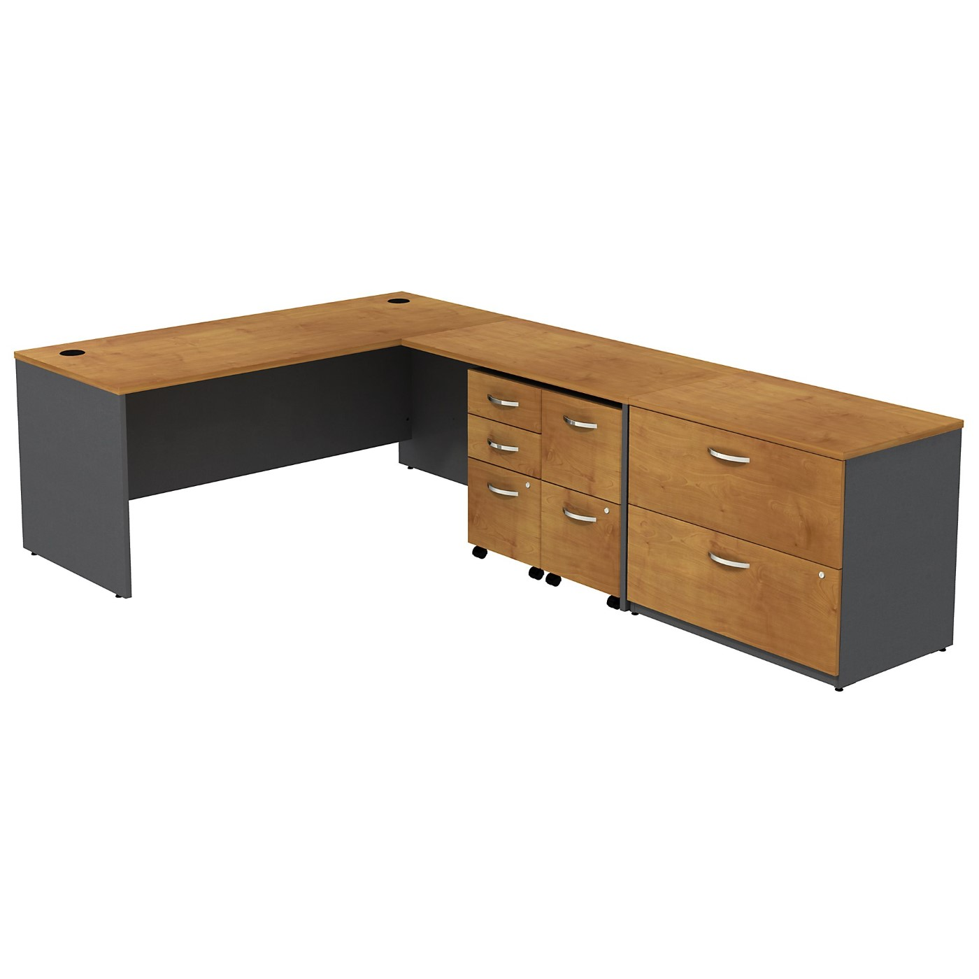 BUSH BUSINESS FURNITURE SERIES C L SHAPED DESK WITH 2 MOBILE PEDESTALS AND LATERAL FILE CABINET. FREE SHIPPING