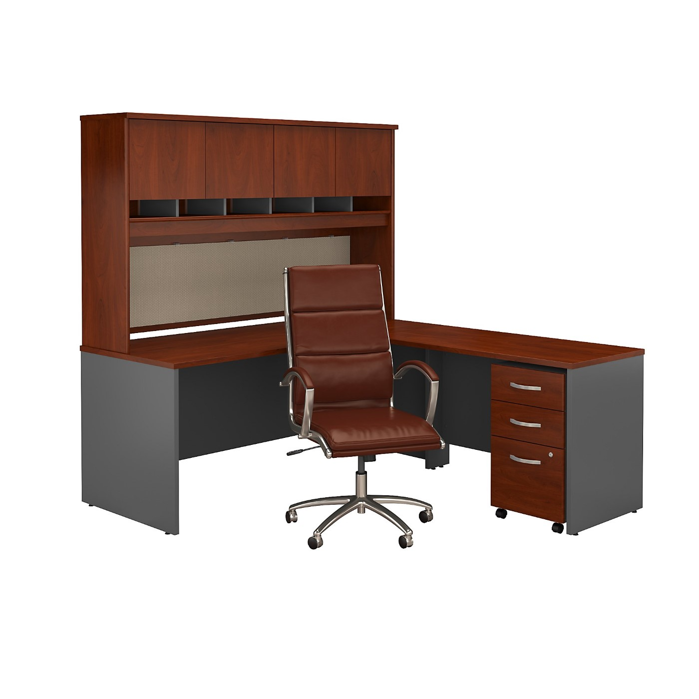BUSH BUSINESS FURNITURE SERIES C L SHAPED DESK WITH HUTCH, MOBILE FILE CABINET AND HIGH BACK OFFICE CHAIR. FREE SHIPPING SALE DEDUCT 10% MORE ENTER '10percent' IN COUPON CODE BOX WHILE CHECKING OUT.