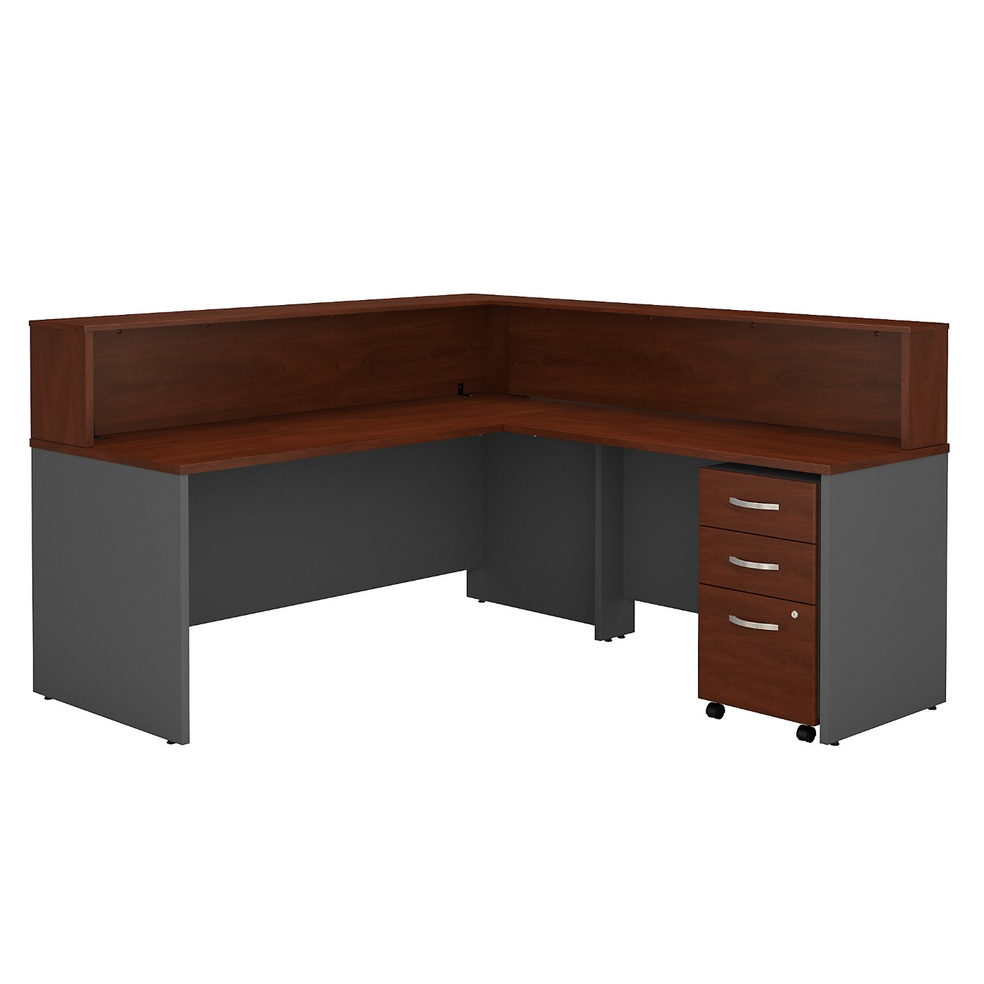 BUSH BUSINESS FURNITURE SERIES C L SHAPED RECEPTION DESK WITH MOBILE FILE CABINET. FREE SHIPPING