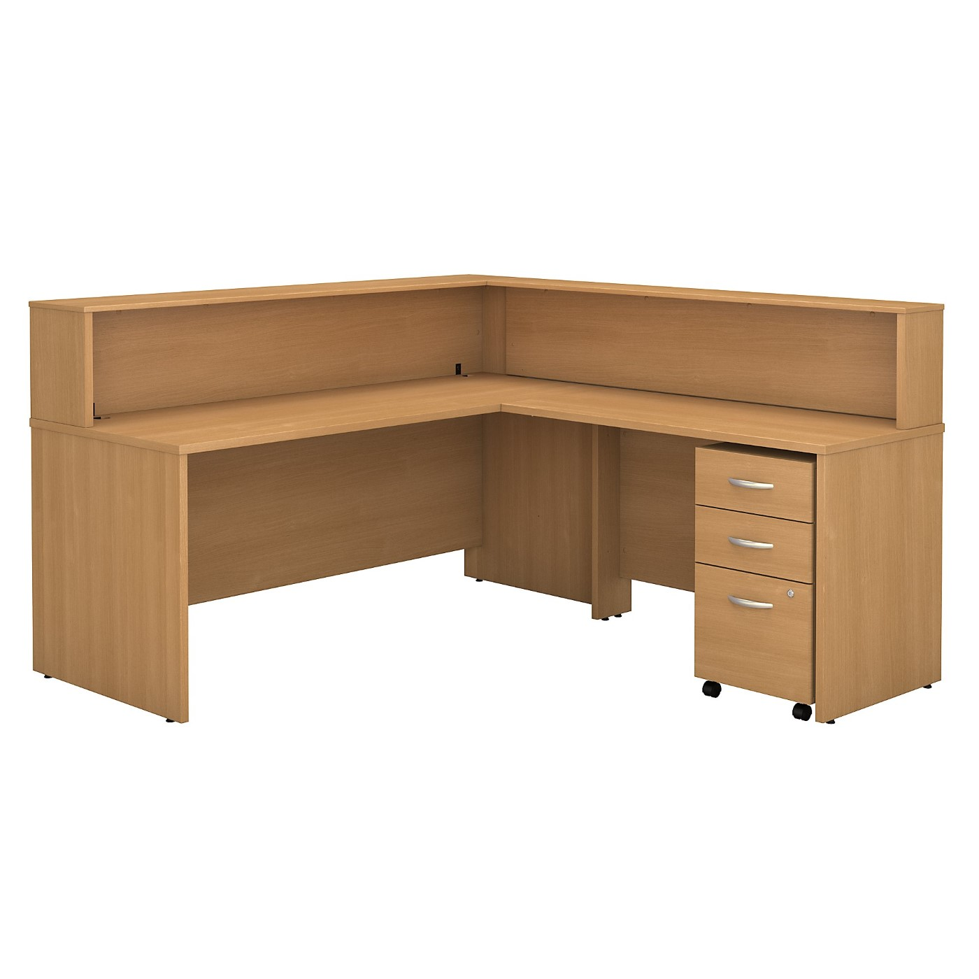 BUSH BUSINESS FURNITURE SERIES C L SHAPED RECEPTION DESK WITH MOBILE FILE CABINET. FREE SHIPPING SALE DEDUCT 10% MORE ENTER '10percent' IN COUPON CODE BOX WHILE CHECKING OUT.