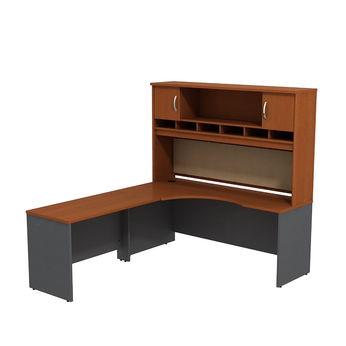 BUSH BUSINESS FURNITURE SERIES C LEFT HANDED CORNER L SHAPED DESK WITH HUTCH. FREE SHIPPING