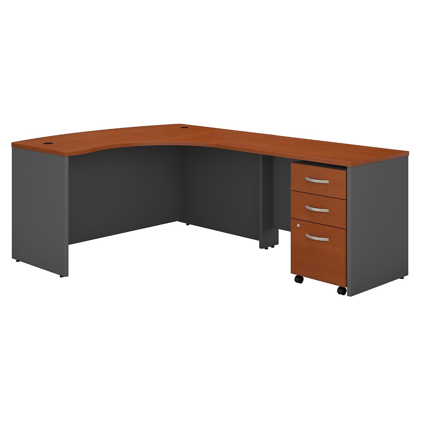 BUSH BUSINESS FURNITURE SERIES C LEFT HANDED L SHAPED DESK WITH MOBILE FILE CABINET. FREE SHIPPING  VIDEO BELOW.