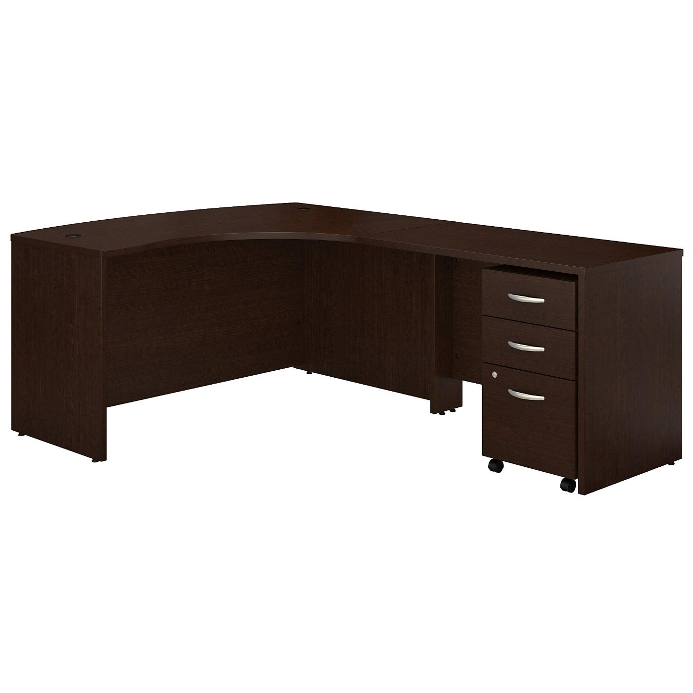 BUSH BUSINESS FURNITURE SERIES C LEFT HANDED L SHAPED DESK WITH MOBILE FILE CABINET. FREE SHIPPING.