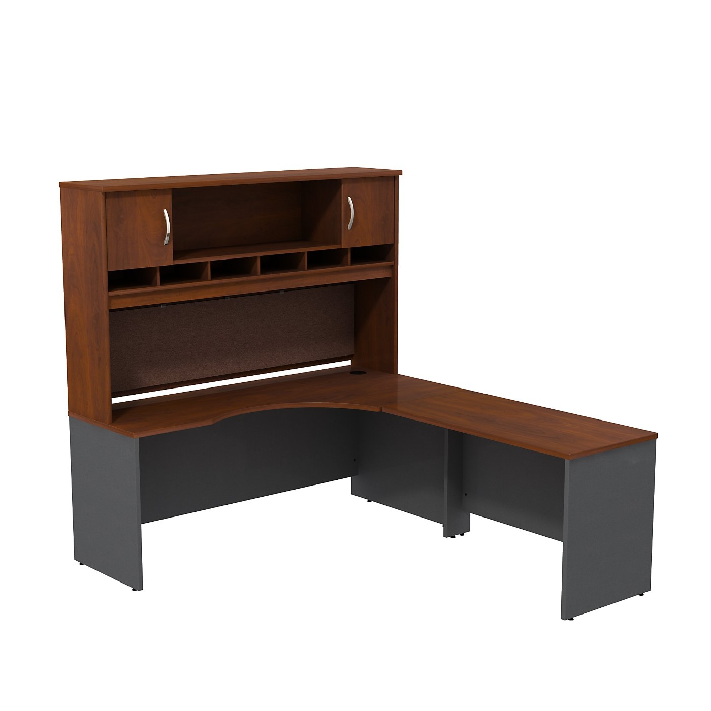 BUSH BUSINESS FURNITURE SERIES C RIGHT HANDED CORNER L SHAPED DESK WITH HUTCH. FREE SHIPPING