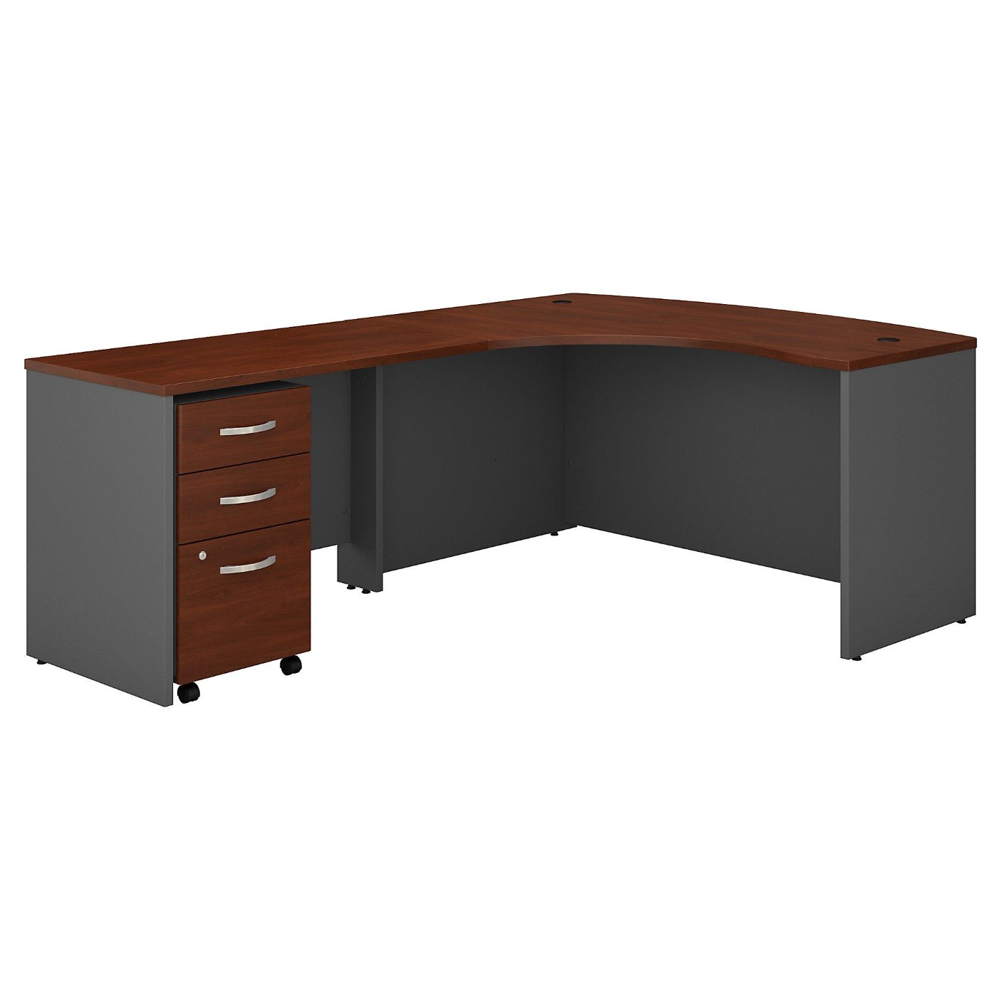 BUSH BUSINESS FURNITURE SERIES C RIGHT HANDED L SHAPED DESK WITH MOBILE FILE CABINET. FREE SHIPPING  VIDEO BELOW.