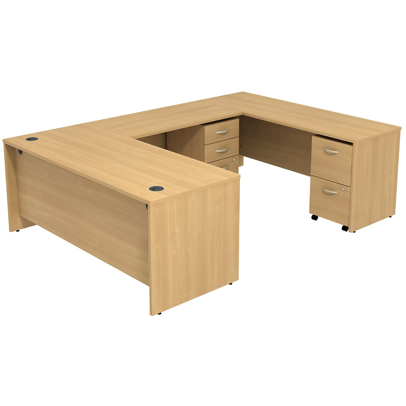 BUSH BUSINESS FURNITURE SERIES C U SHAPED DESK WITH 2 MOBILE PEDESTALS. FREE SHIPPING