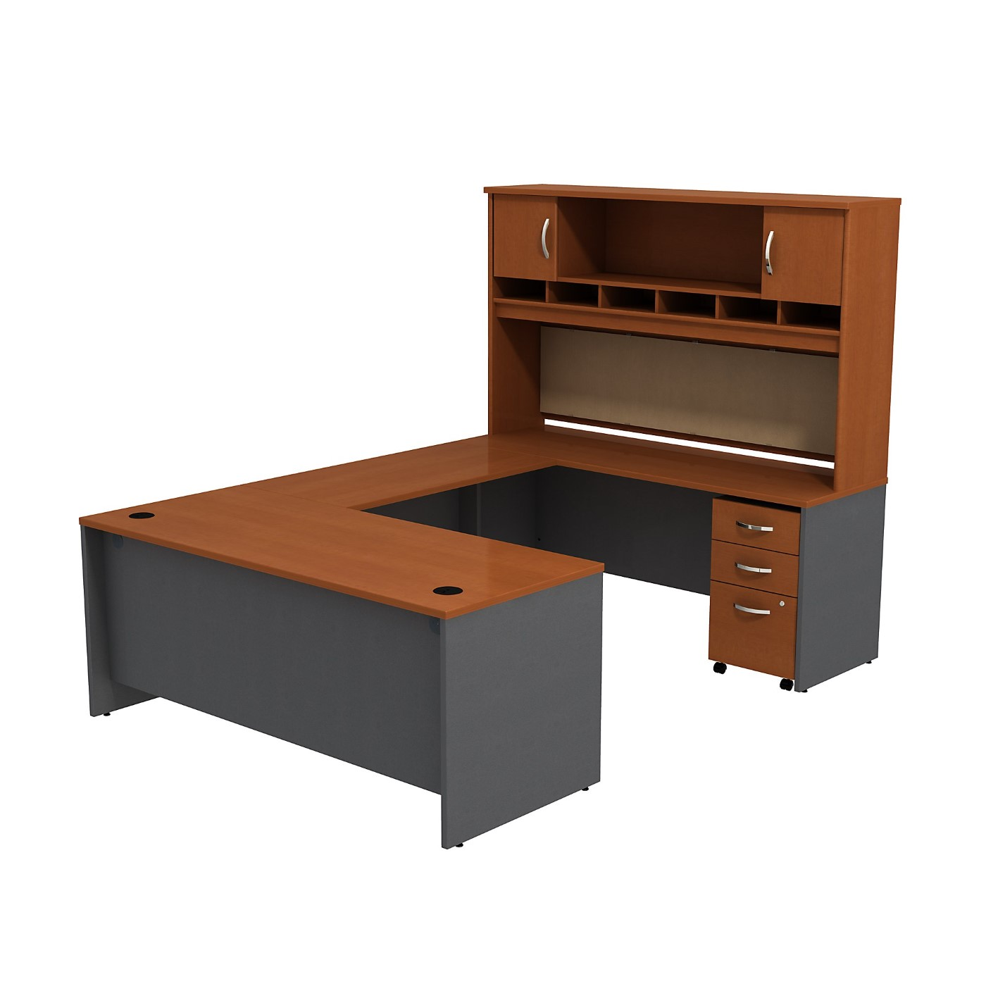 BUSH BUSINESS FURNITURE SERIES C U SHAPED DESK WITH HUTCH AND 3 DRAWER MOBILE PEDESTAL. FREE SHIPPING