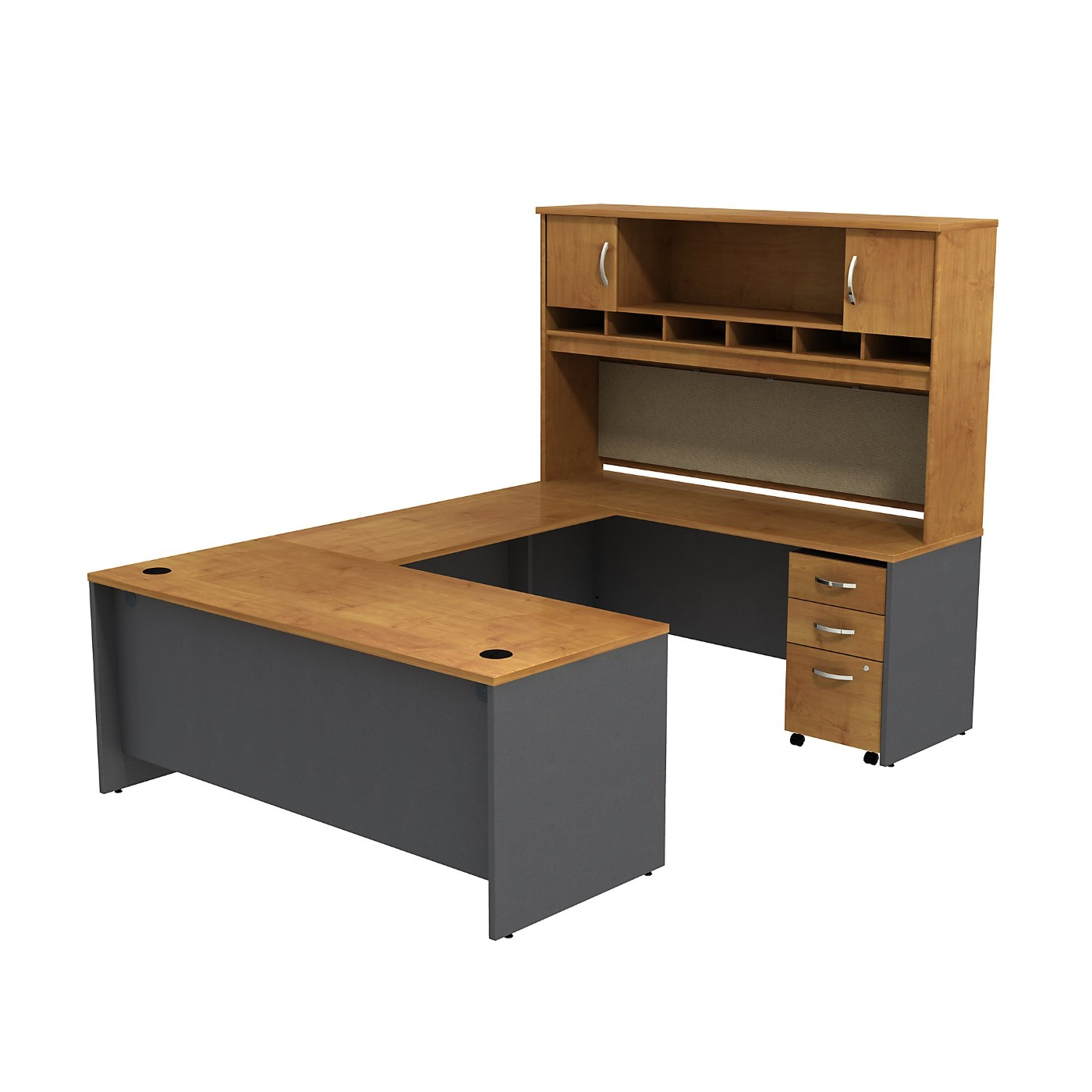 BUSH BUSINESS FURNITURE SERIES C U SHAPED DESK WITH HUTCH AND 3 DRAWER MOBILE PEDESTAL. FREE SHIPPING SALE DEDUCT 10% MORE ENTER '10percent' IN COUPON CODE BOX WHILE CHECKING OUT.