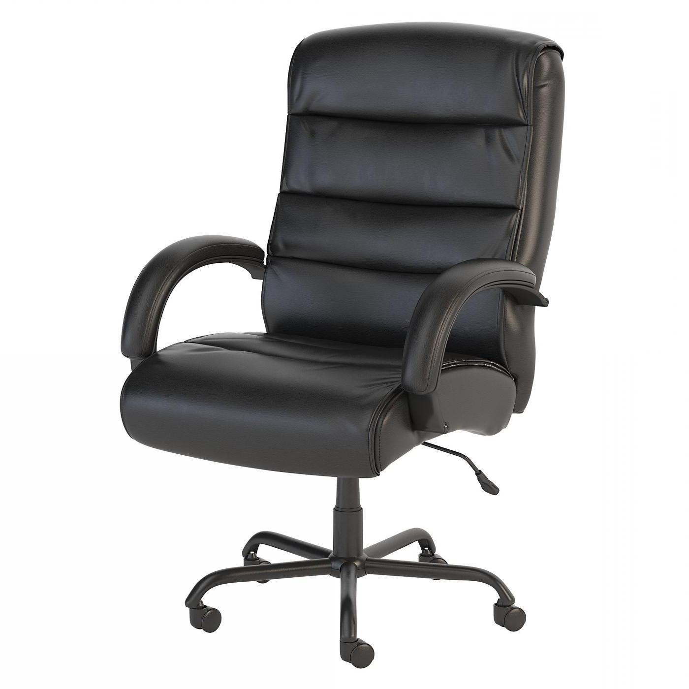 BUSH BUSINESS FURNITURE SOFT SENSE BIG AND TALL HIGH BACK LEATHER EXECUTIVE OFFICE CHAIR. FREE SHIPPING.
