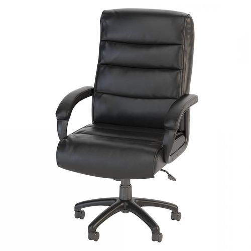 BUSH BUSINESS FURNITURE SOFT SENSE HIGH BACK LEATHER EXECUTIVE OFFICE CHAIR. FREE SHIPPING.