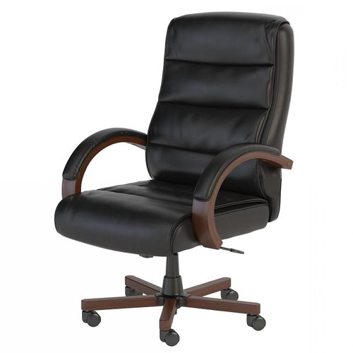 <font color=#c60><b>BUSH BUSINESS FURNITURE SOFT SENSE HIGH BACK LEATHER EXECUTIVE OFFICE CHAIR WITH WOOD ARMS. FREE SHIPPING</font></b> </font></b>