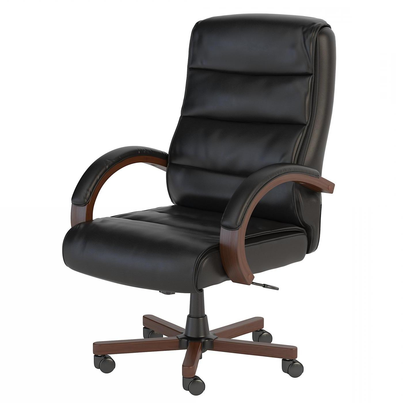BUSH BUSINESS FURNITURE SOFT SENSE HIGH BACK LEATHER EXECUTIVE OFFICE CHAIR WITH WOOD ARMS. FREE SHIPPING.