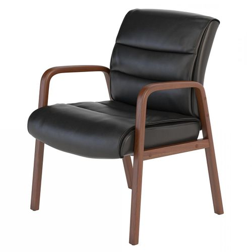 BUSH BUSINESS FURNITURE SOFT SENSE LEATHER GUEST CHAIR WITH WOOD ARMS. FREE SHIPPING.