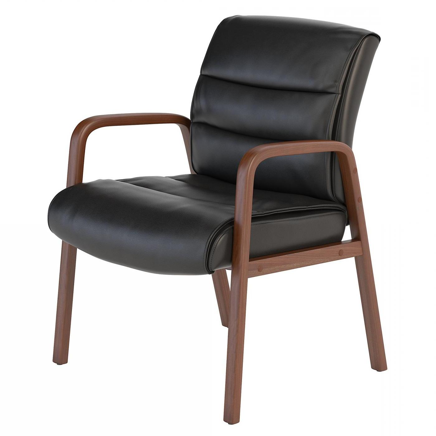 BUSH BUSINESS FURNITURE SOFT SENSE LEATHER GUEST CHAIR WITH WOOD ARMS. FREE SHIPPING.  SALE DEDUCT 10% MORE ENTER '10percent' IN COUPON CODE BOX WHILE CHECKING OUT.