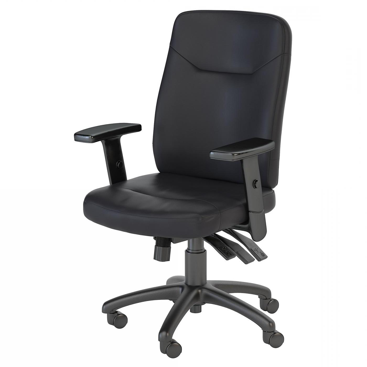 BUSH BUSINESS FURNITURE STANTON HIGH BACK MULTIFUNCTION LEATHER EXECUTIVE OFFICE CHAIR. FREE SHIPPING.