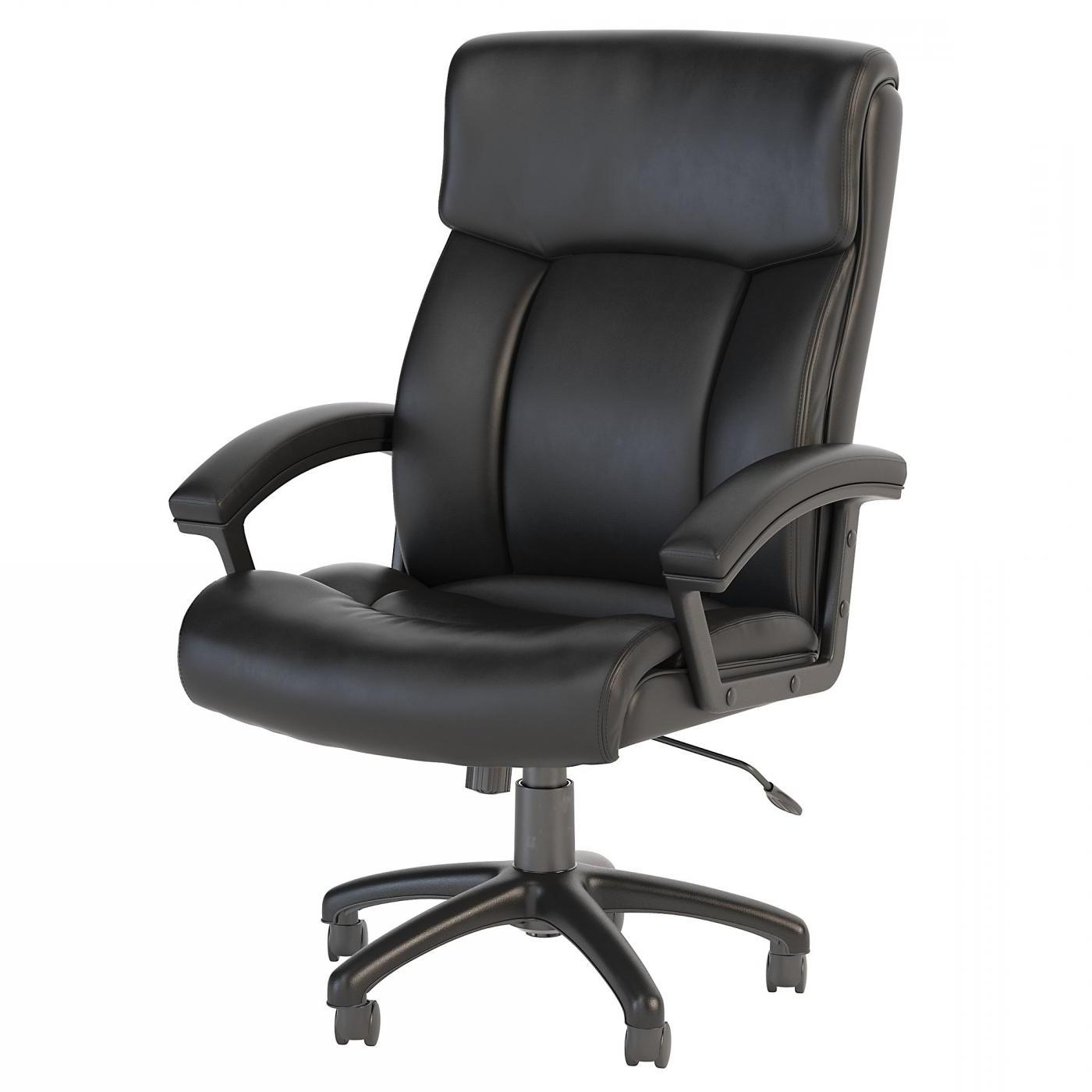 BUSH BUSINESS FURNITURE STANTON PLUS HIGH BACK LEATHER EXECUTIVE OFFICE CHAIR. FREE SHIPPING.