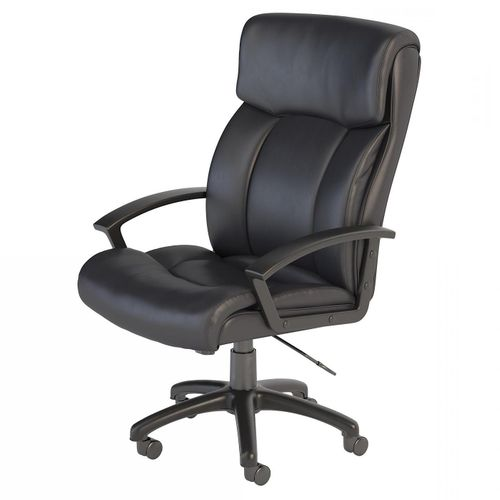 BUSH BUSINESS FURNITURE STANTON PLUS MID BACK LEATHER EXECUTIVE OFFICE CHAIR. FREE SHIPPING. - <font color=red><b>OUT OF STOCK</b></font>