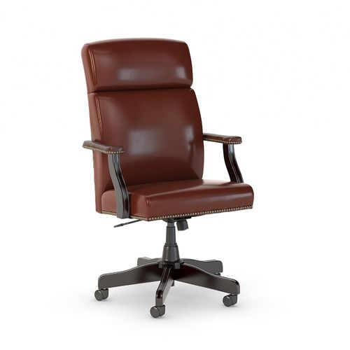 BUSH BUSINESS FURNITURE STATE HIGH BACK LEATHER EXECUTIVE OFFICE CHAIR. FREE SHIPPING 30H x 72L x 72W  VIDEO BELOW. - <font color=red><b>OUT OF STOCK</b></font>