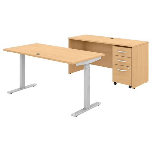 BUSH BUSINESS FURNITURE STUDIO C 60W X 30D HEIGHT ADJUSTABLE STANDING DESK, CREDENZA AND MOBILE FILE CABINET. FREE SHIPPING