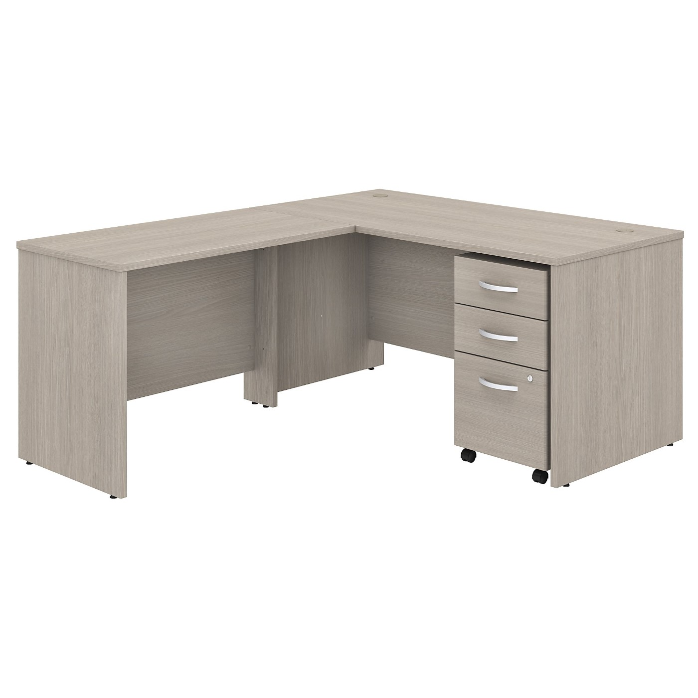 BUSH BUSINESS FURNITURE STUDIO C 60W X 30D L SHAPED DESK WITH MOBILE FILE CABINET AND 42W RETURN. FREE SHIPPING