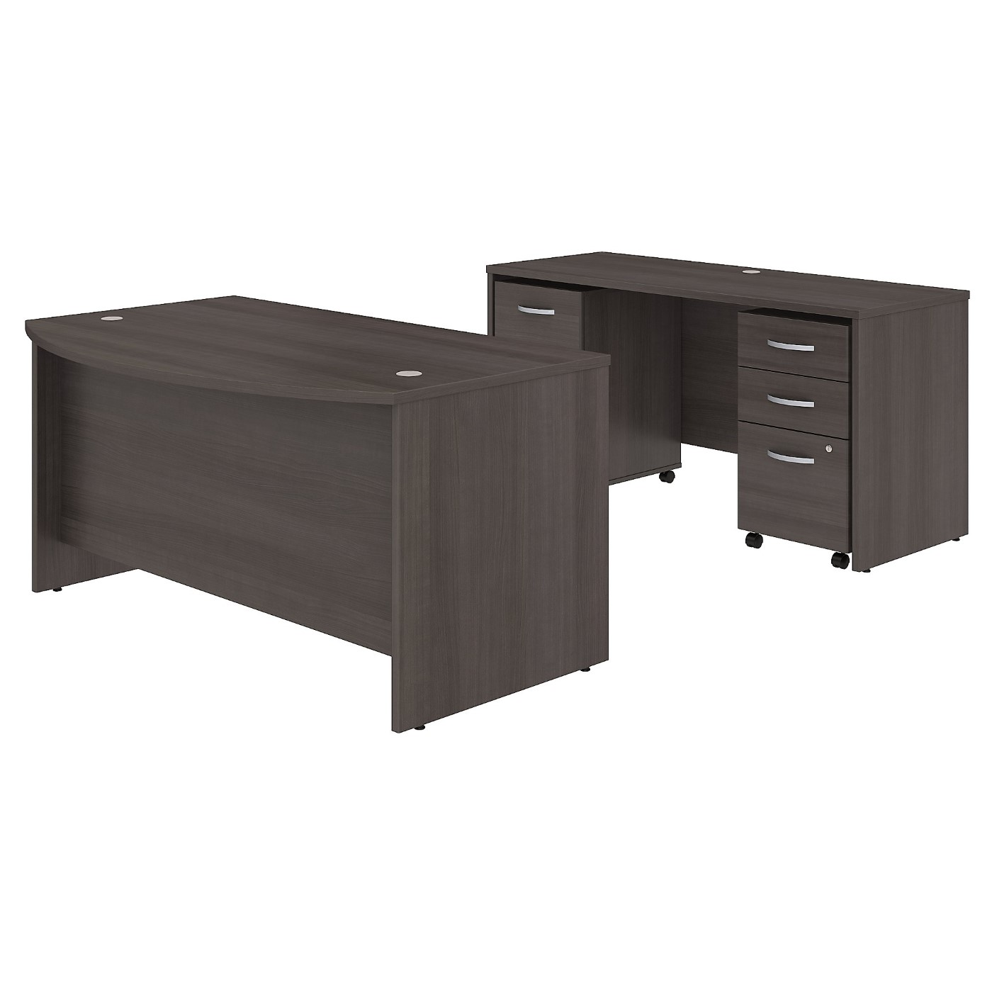 BUSH BUSINESS FURNITURE STUDIO C 60W X 36D BOW FRONT DESK AND CREDENZA WITH MOBILE FILE CABINETS. FREE SHIPPING