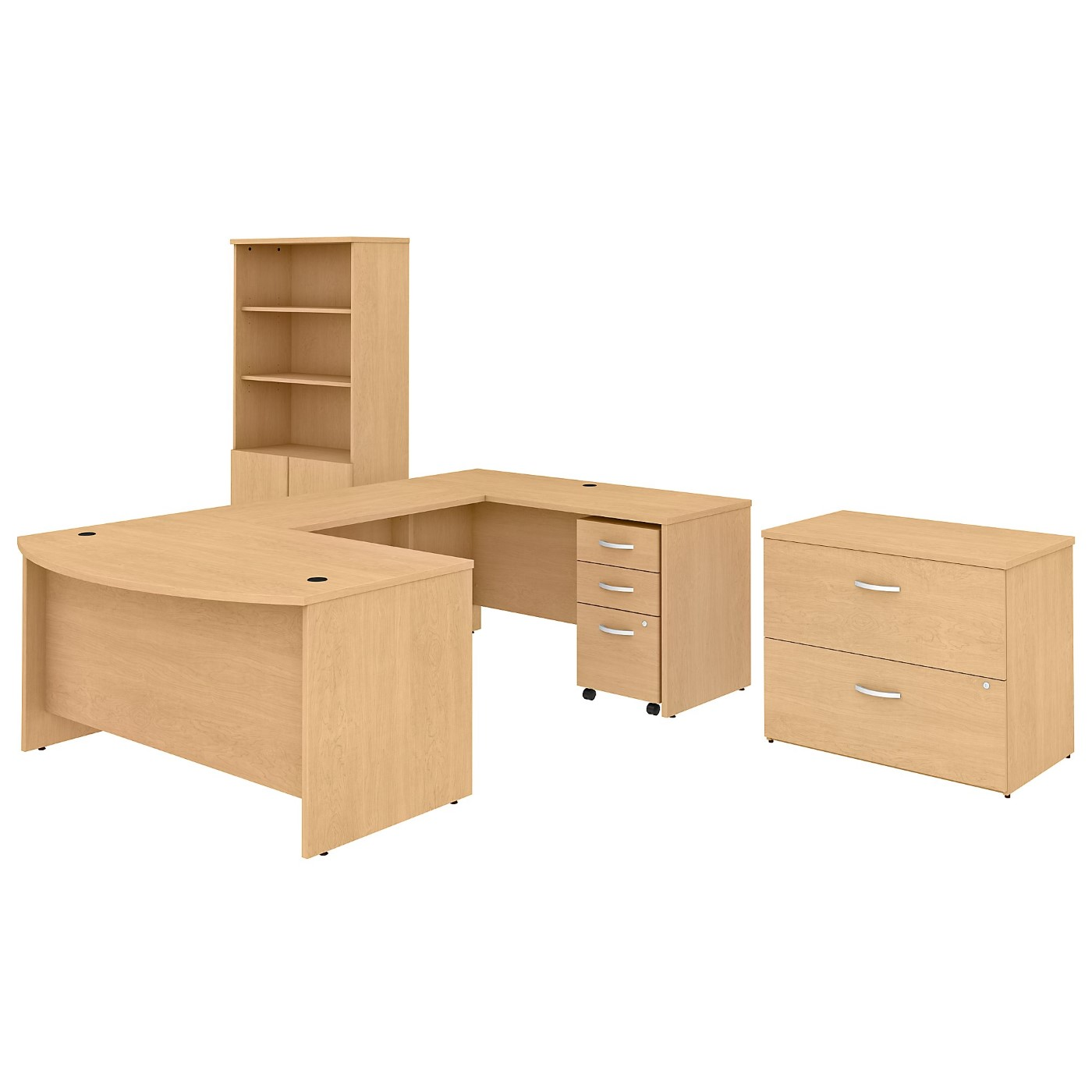 BUSH BUSINESS FURNITURE STUDIO C 60W X 36D U SHAPED DESK WITH BOOKCASE AND FILE CABINETS. FREE SHIPPING SALE DEDUCT 10% MORE ENTER '10percent' IN COUPON CODE BOX WHILE CHECKING OUT.