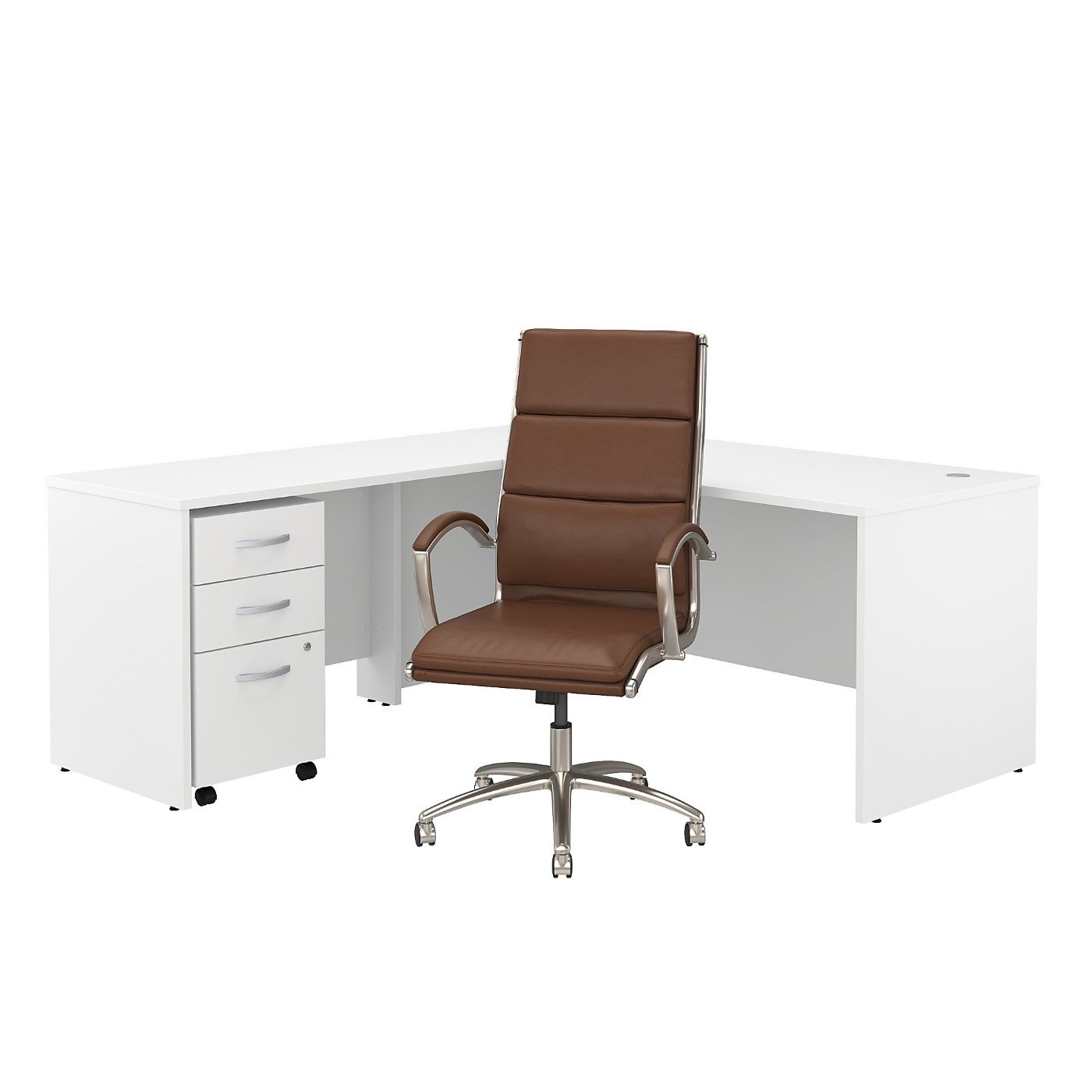 BUSH BUSINESS FURNITURE STUDIO C 72W L SHAPED DESK WITH MOBILE FILE CABINET AND HIGH BACK OFFICE CHAIR. FREE SHIPPING