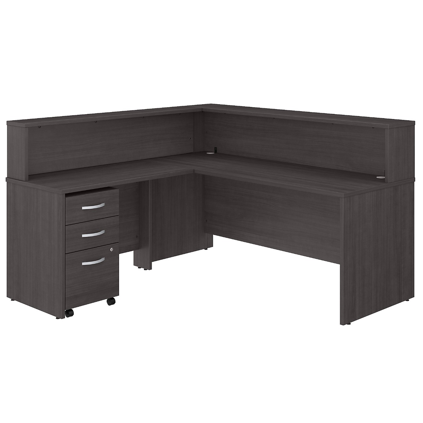 BUSH BUSINESS FURNITURE STUDIO C 72W L SHAPED RECEPTION DESK WITH SHELF AND MOBILE FILE CABINET. FREE SHIPPING