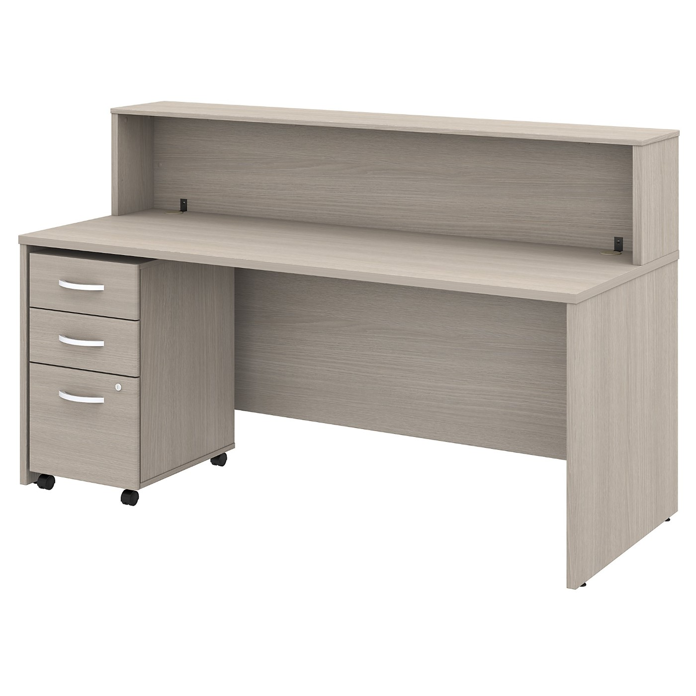 BUSH BUSINESS FURNITURE STUDIO C 72W RECEPTION DESK WITH SHELF AND MOBILE FILE CABINET. FREE SHIPPING