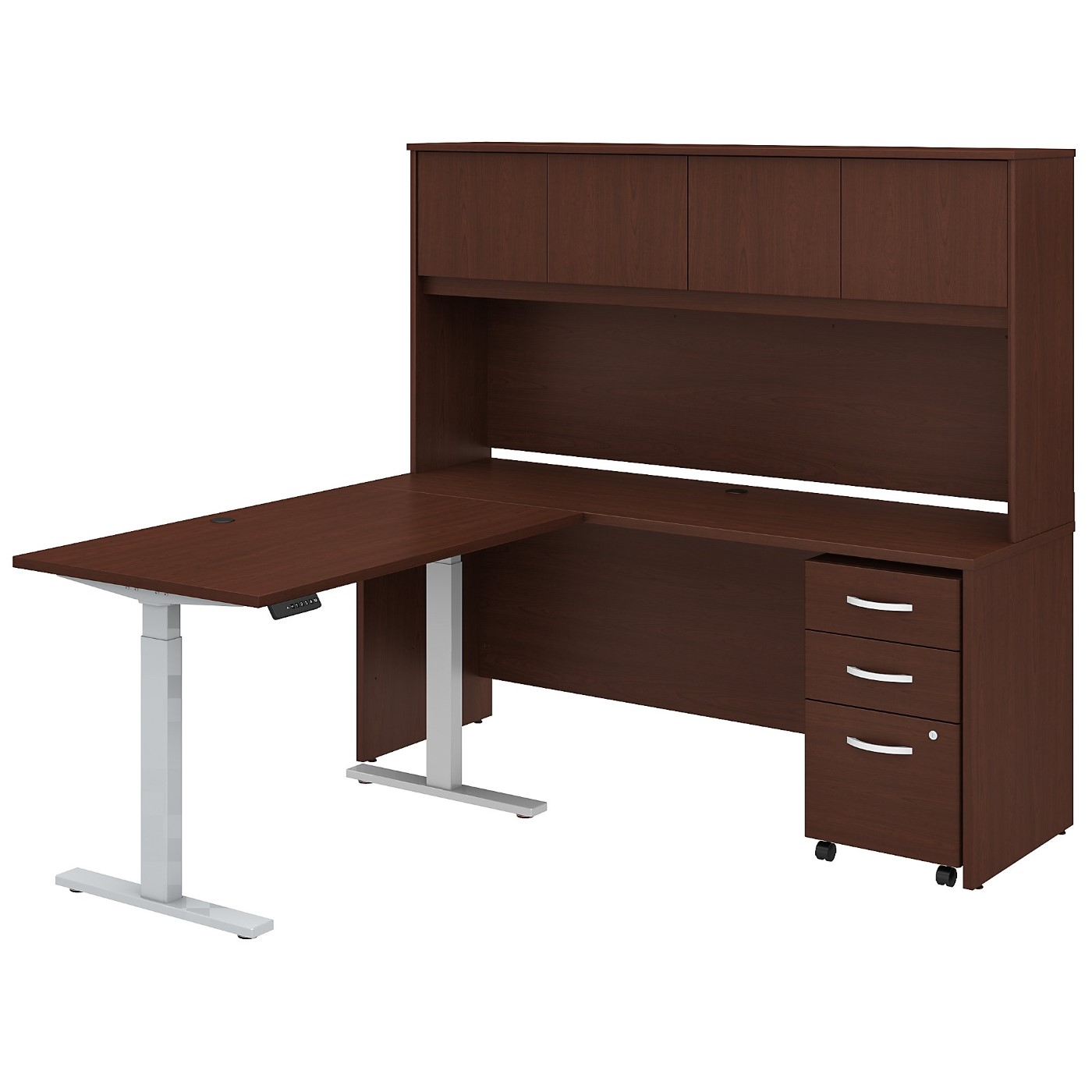 BUSH BUSINESS FURNITURE STUDIO C 72W X 24D L SHAPED DESK WITH HUTCH, 48W HEIGHT ADJUSTABLE RETURN AND STORAGE. FREE SHIPPING